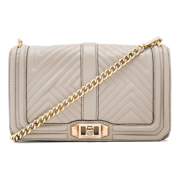 REBECCA MINKOFF Geo quilted love crossbody bag - Leather exterior with jacquard fabric lining. Flap top with...