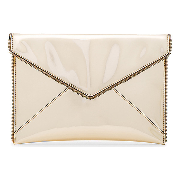 "REBECCA MINKOFF Leo Metallic Clutch - ""Faux metallic leather exterior with jacquard fabric..."