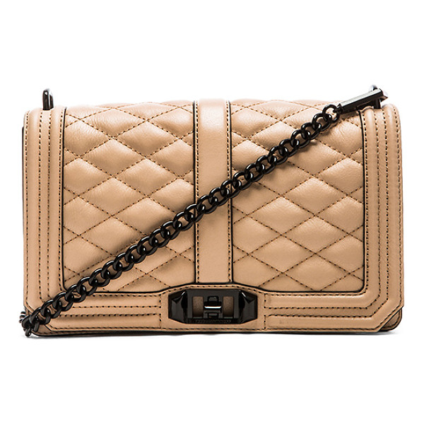 REBECCA MINKOFF Love crossbody - Quilted leather exterior with jacquard fabric lining....