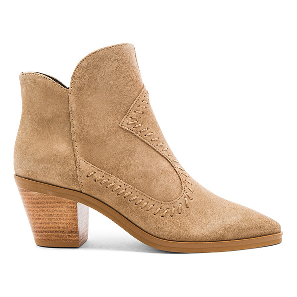 REBECCA MINKOFF Lulu Bootie - Suede upper with man made sole. Side zip closure. Stitched