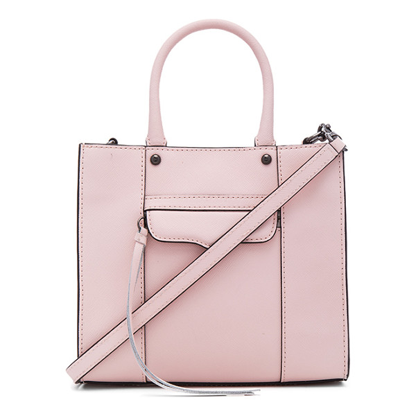REBECCA MINKOFF Mab mini tote - Leather exterior with jacquard fabric lining. Top magnetic...