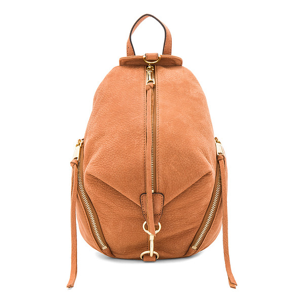 REBECCA MINKOFF Medium Julian Backpack - Suede exterior with jacquard fabric lining. Front zip