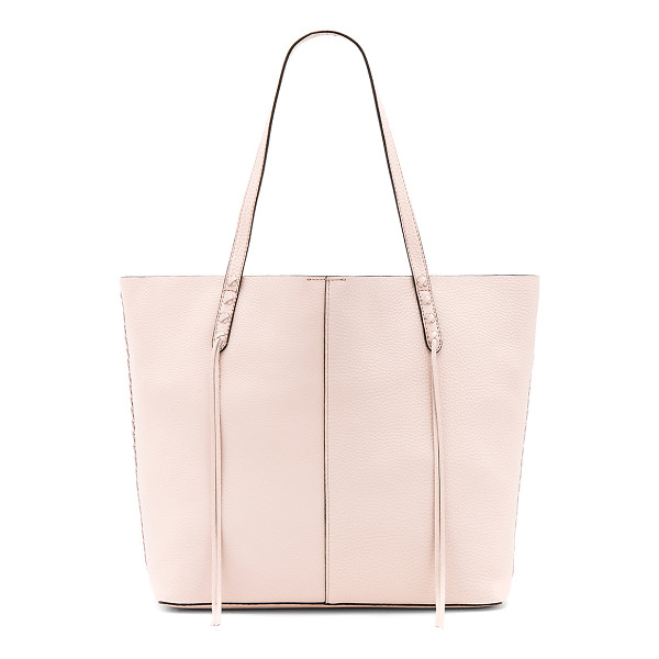 REBECCA MINKOFF Medium Unlined Tote With Whipstitch - Leather exterior with raw leather lining. Top magnetic...