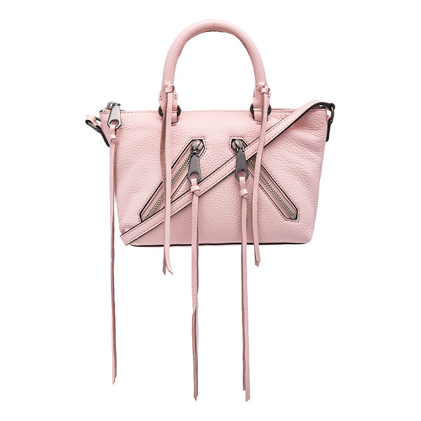 REBECCA MINKOFF Micro moto satchel bag - Leather exterior with jacquard fabric lining. Zip top...