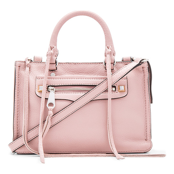 REBECCA MINKOFF Micro regan satchel bag - Leather exterior with jacquard fabric lining. Zip top...