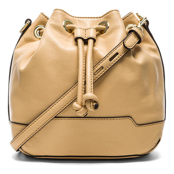 REBECCA MINKOFF Mini fiona bucket bag - Leather exterior with printed fabric lining. Measures...