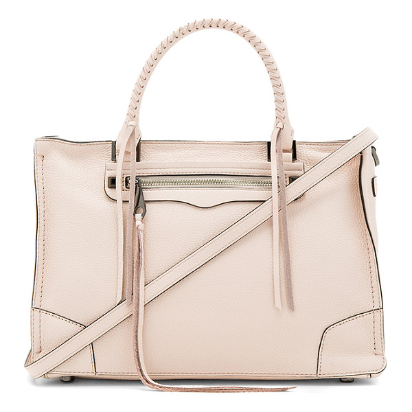 REBECCA MINKOFF Regan Satchel - Leather exterior with jacquard fabric lining. Zip top...