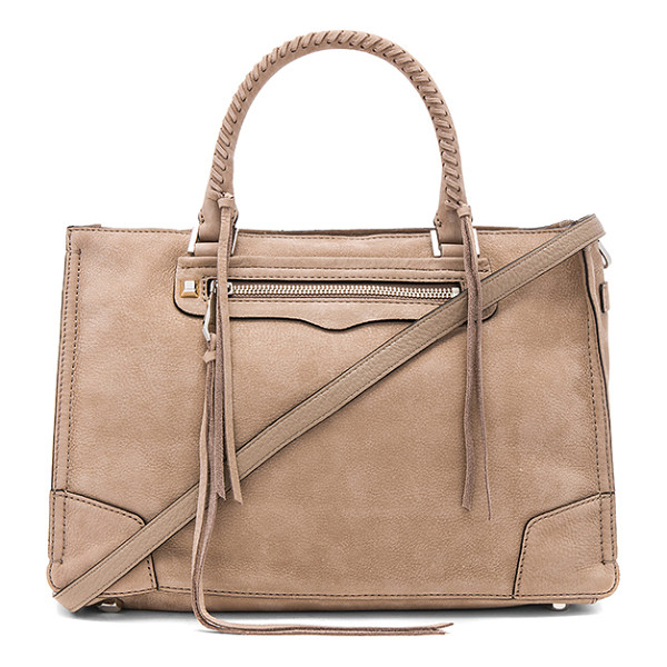 "REBECCA MINKOFF Regan Satchel Tote - ""Suede exterior with jacquard fabric lining. Zip top..."