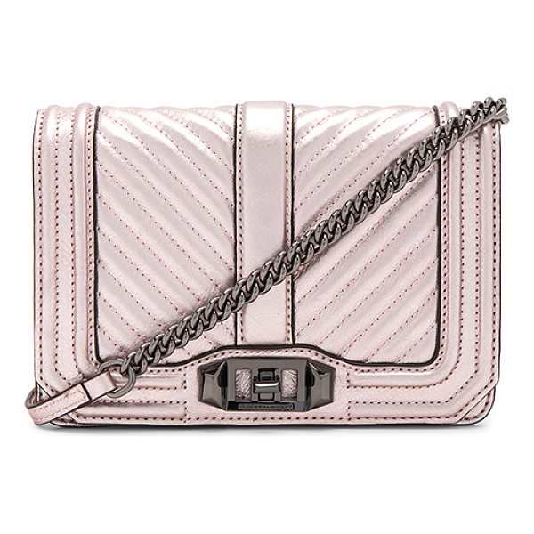 REBECCA MINKOFF Small Love Crossbody - Metallic leather exterior with jacquard fabric lining. Flap...