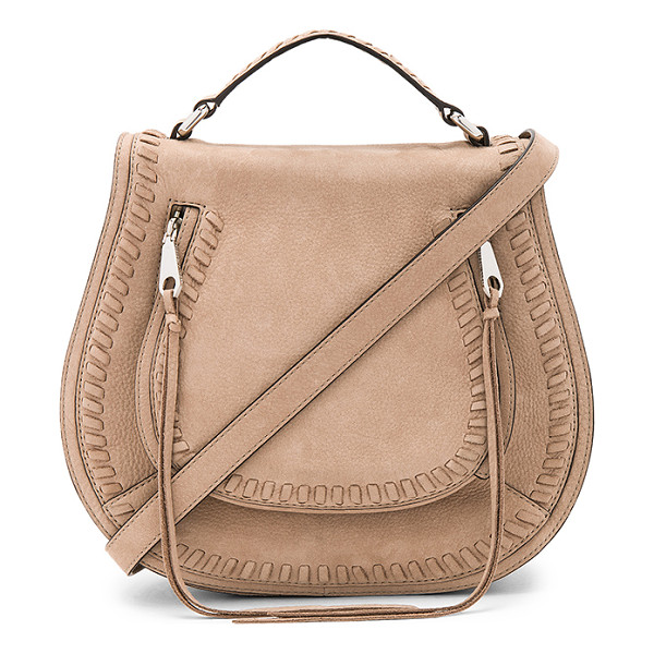 REBECCA MINKOFF Small Vanity Saddle Bag - Suede exterior with jacquard fabric lining. Flap top with...