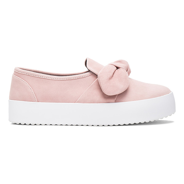 REBECCA MINKOFF Stacey Slip On - Suede upper with rubber sole. Slip-on styling. Front bow...