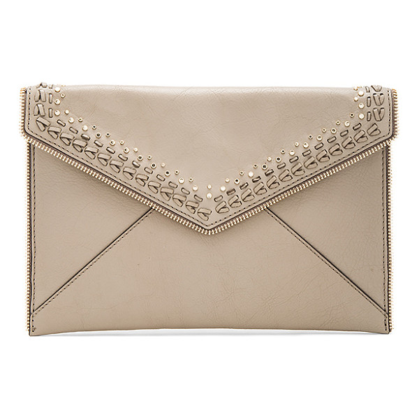 REBECCA MINKOFF Whipstitch Leo Clutch - Leather exterior with jacquard fabric lining. Flap top with...
