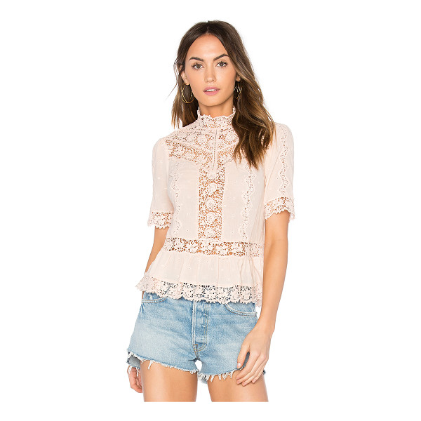REBECCA TAYLOR Eyelet Mock Neck Top - 100% cotton. Dry clean only. Back button closures. Ruffled...