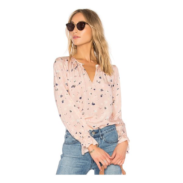 REBECCA TAYLOR Holly Floral Top - Silk blend. Dry clean only. Front keyhole with button...