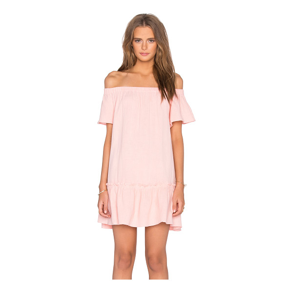 REBECCA TAYLOR Off The Shoulder Gauze Dress - Cotton blend. Hand wash cold. Unlined. Elastic neckline....