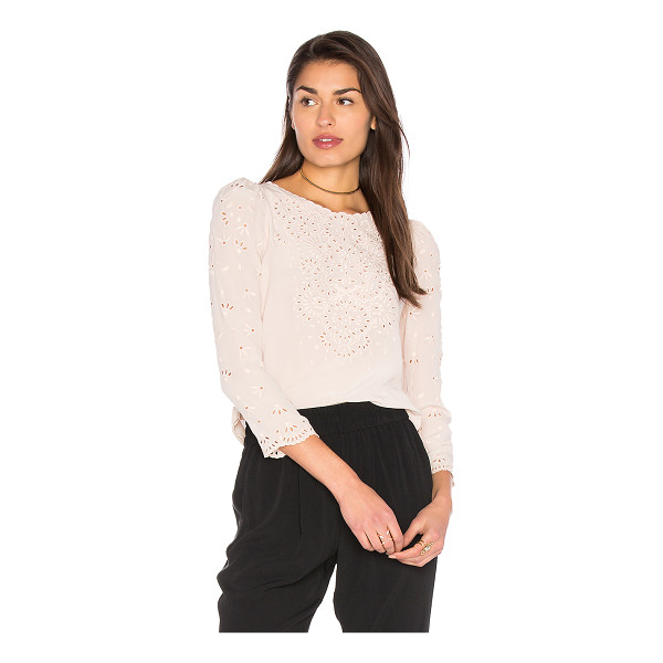 REBECCA TAYLOR Teardrop Eyelet Top - 100% silk. Dry clean only. Back button closure with keyhole...