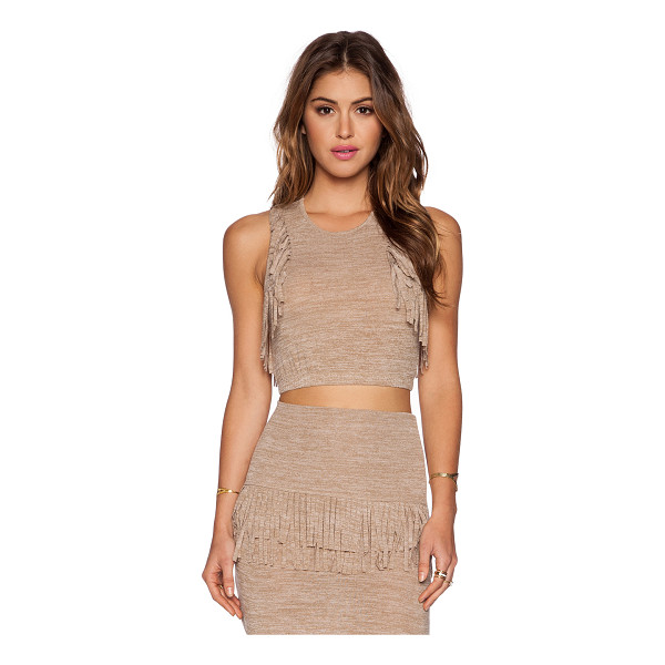 RILLER & FOUNT Poppy crop top - 74% rayon 21% poly 5% poly. Dry clean only. Fringe accent....