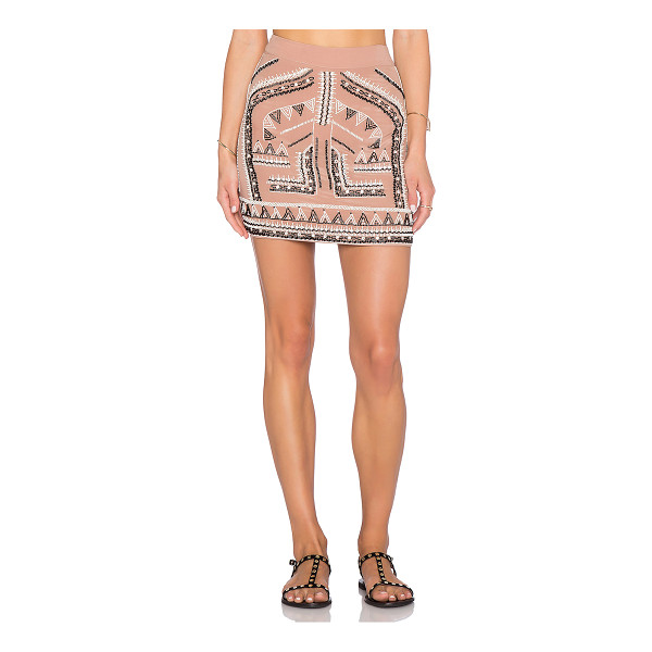 "ROCOCO SAND Beaded embroidery mini skirt - 100% silk. Dry clean only. Skirt measures approx 15"""" in..."
