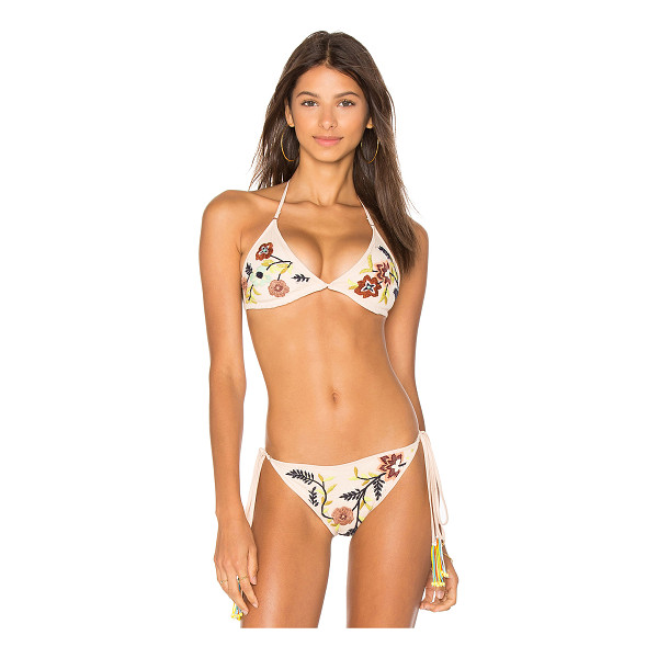 ROCOCO SAND Triangle Top - 95% poly 5% spandex. Halter strap ties around neck and back...