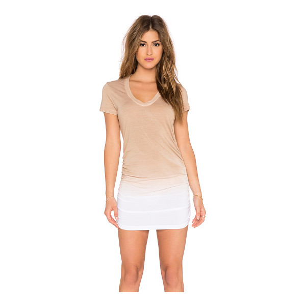 SAINT GRACE Cap sleeve shirred v neck dress - 50% rayon 50% poly. Unlined. Ruched side. SAIN-WD270....