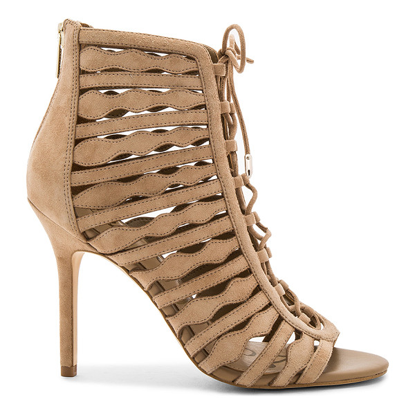 SAM EDELMAN Amelia Heel - Suede upper with man made sole. Back zip closure. Lace-up...