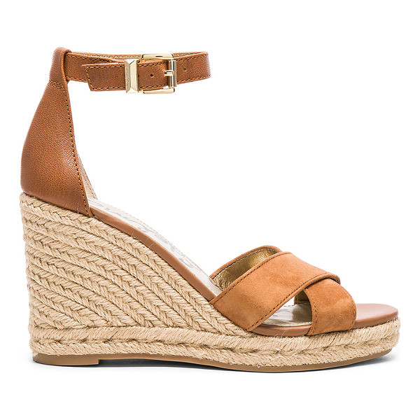 SAM EDELMAN Brenda Wedge - Leather and suede upper with rubber sole. Ankle strap with...