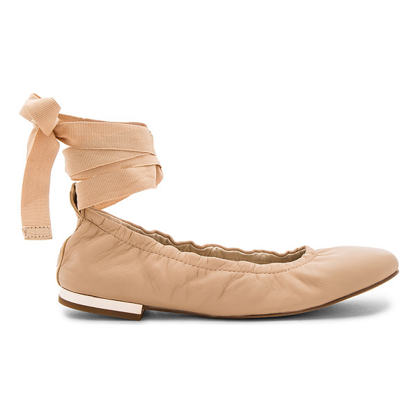 SAM EDELMAN Fallon Ballet Flat - Leather upper with man made sole. Wrap ankle with tie