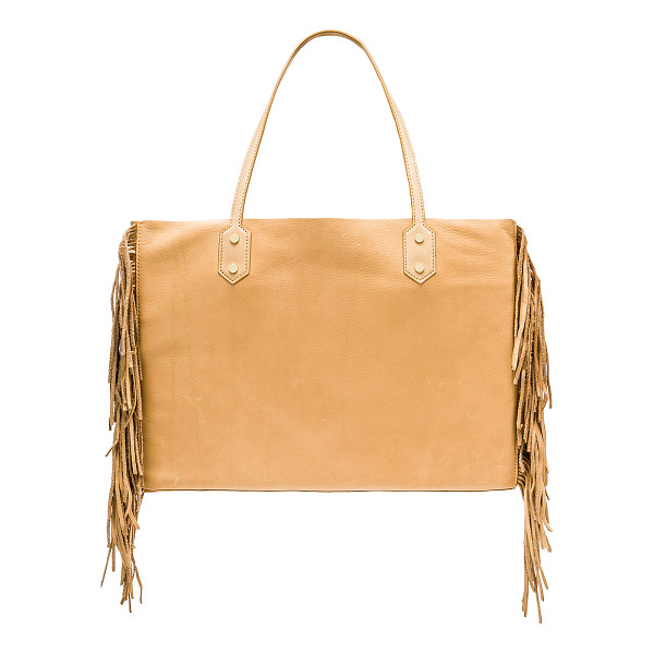 SAM EDELMAN Payton tote - Leather exterior with raw leather lining. Open top. Fringe...