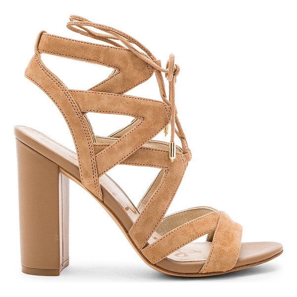 SAM EDELMAN Yardley Heel - Suede upper with man made sole. Lace-up front with wrap tie