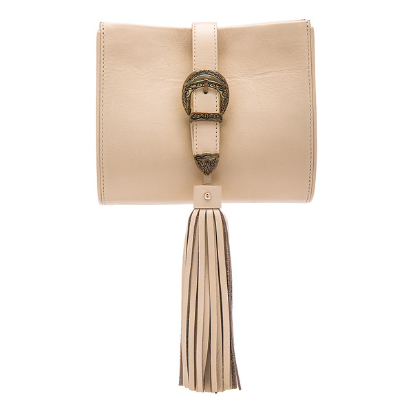 SANCIA x Vanessa Mooney Buckle Clutch - Leather and suede exterior with poly fabric lining. Buckle...
