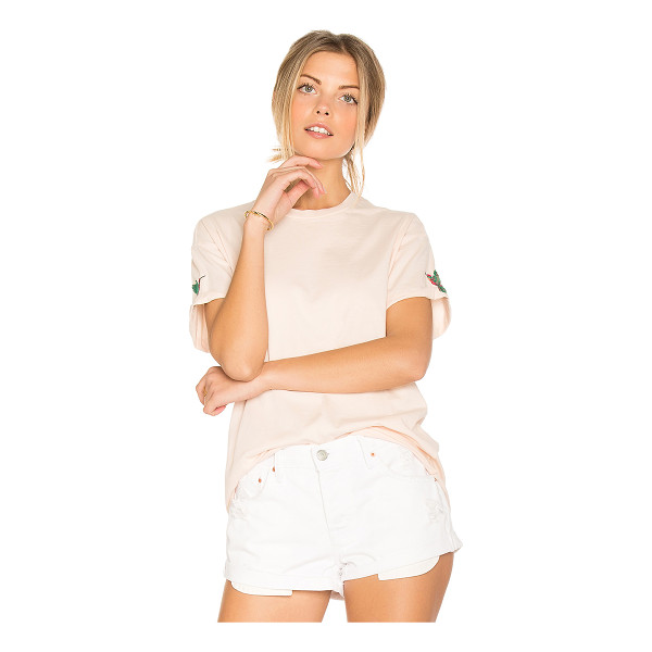 SANDRINE ROSE Embroidered Tee - 100% cotton. Embroidered detail. Cuffed sleeves. Rolled raw...