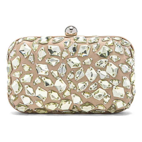 SANTI Crystal beaded clutch - Jeweled satin fabric exterior with satin fabric lining....