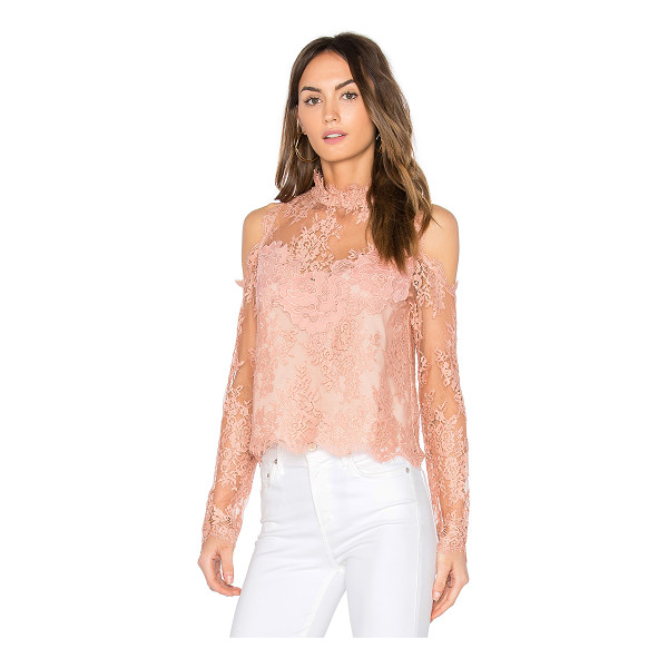 SAYLOR Evangeline Lace Top - Poly/Nylon blend. Dry clean only. Allover lace overlay....