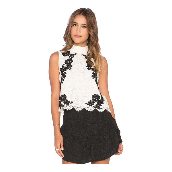 SAYLOR Isla top - Poly blend. Dry clean only. Lace fabric. Back keyhole with...