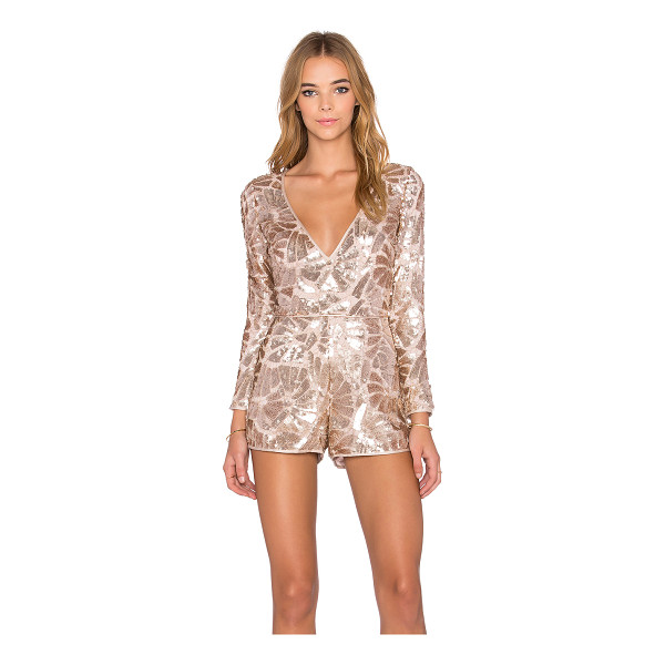 SAYLOR Jacqueline Sequin Romper - Poly blend. Dry clean only. Sequined throughout. Exposed...