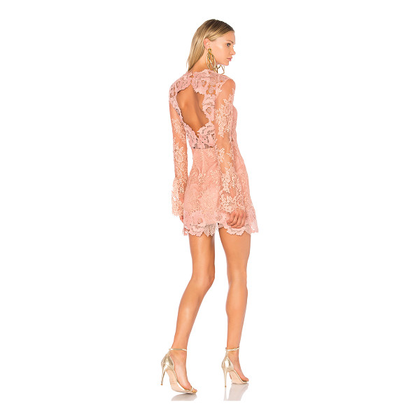 SAYLOR Leondra Lace Mini Dress - Self: 84.4% nylon 15.6% cottonCombo & Lining: 100% poly....