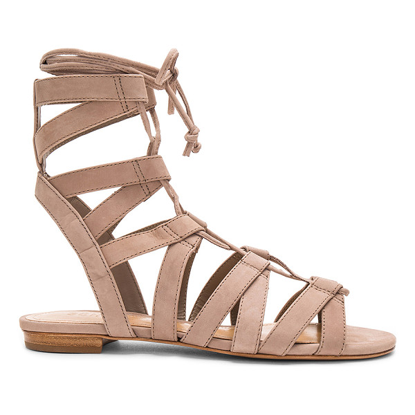 SCHUTZ Berlina Sandal - Leather upper and sole. Lace-up front with wrap tie...