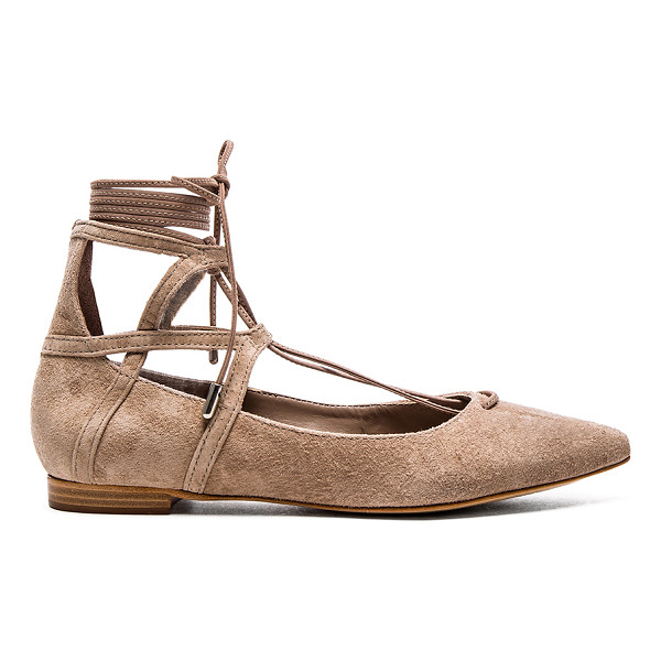 SCHUTZ Beryl flat - Suede upper with leather sole. Lace-up front with wrap tie...