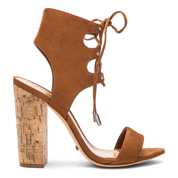 SCHUTZ Cruz Heel - Suede upper with leather sole. Lace-up front with tie