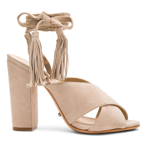 SCHUTZ Damila Heel - Suede upper with leather sole. Wrap ankle with fringed...