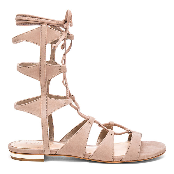 SCHUTZ Erlina Sandal - Suede upper with leather sole. Lace-up front with wrap tie...