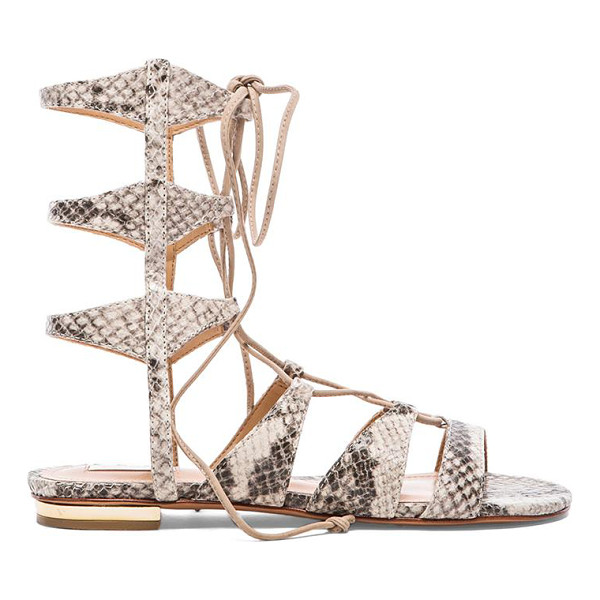SCHUTZ Erlina sandal - Snake embossed leather upper with leather sole. Shaft...