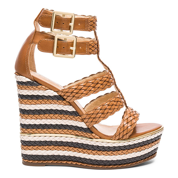 SCHUTZ Kaelyn Wedge - Braided leather upper with rubber sole. Double ankle straps...