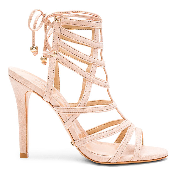 SCHUTZ Latonya Heel - Suede upper with leather sole. Lace-up back with bead