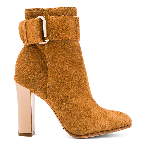 SCHUTZ Namil Bootie - Suede upper with leather sole. Ankle strap with buckle...