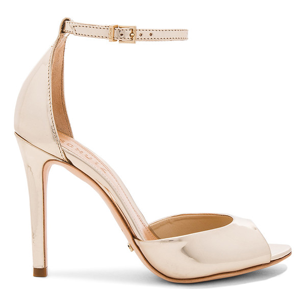 SCHUTZ Saasha Lee Heel - Metallic leather upper with leather sole. Ankle strap with...
