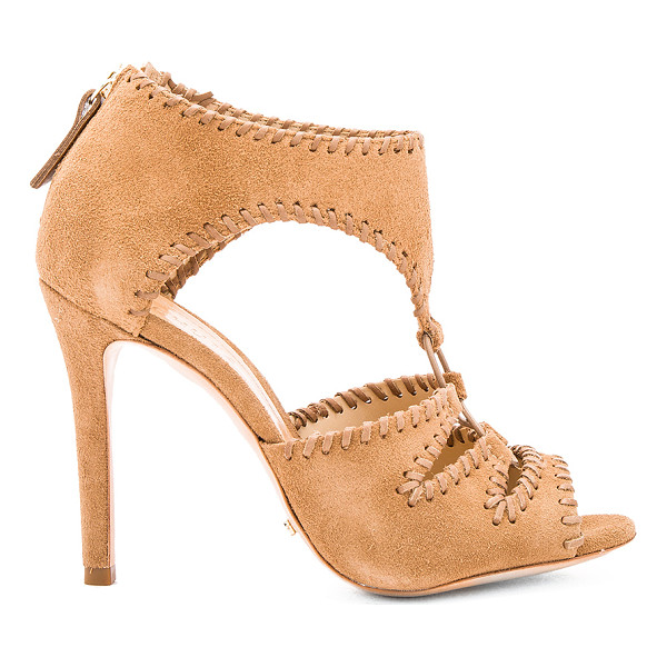 SCHUTZ Tory Heel - Suede upper with leather sole. Whip stitch detail. Back zip