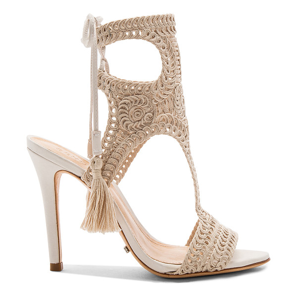 SCHUTZ Veca Heel - Macrame upper with leather sole. Lace-up back with fringed...