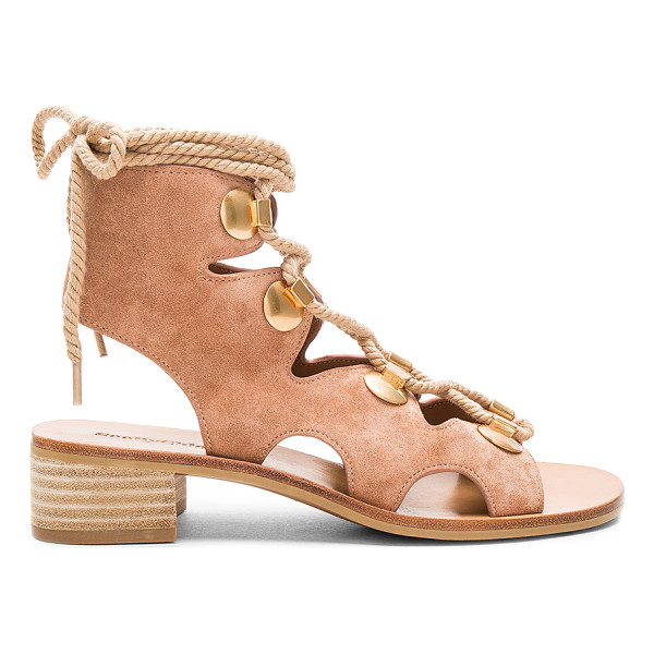 SEE BY CHLOE Lace Up Sandal - Suede upper with man made sole. Lace-up front with wrap tie