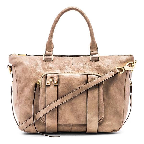 SHE + LO Next chapter satchel bag - Leather exterior with printed fabric lining. Double handles...